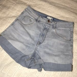 Light-wash, high waisted jean shorts